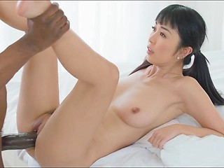 Hot Asian girl and extra Huge Black Cock -...
